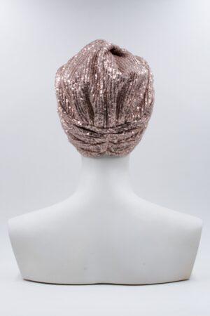 Turbante Elsa Full Pailettes Pleated Rosa