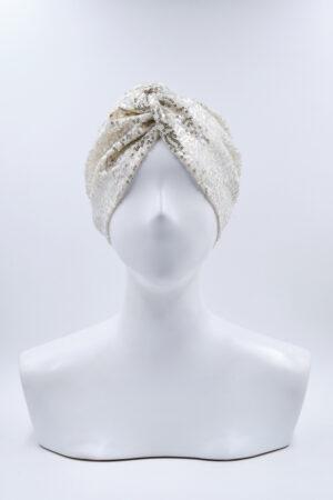 Turbante Elsa Full Pailettes Bianco
